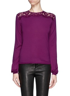 EMILIO PUCCI Lace yoke wool sweater