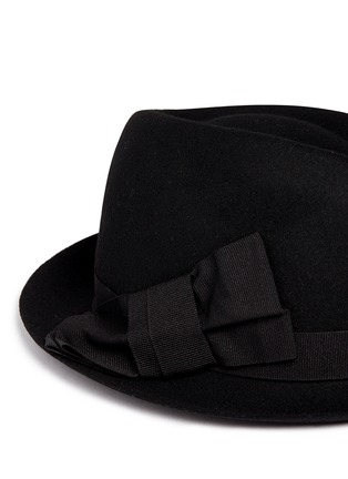 Detail View - Click To Enlarge - Armani Collezioni - Grosgrain bow wool felt fedora hat