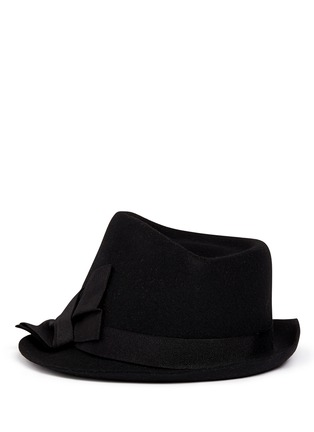 Main View - Click To Enlarge - Armani Collezioni - Grosgrain bow wool felt fedora hat