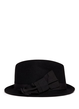Figure View - Click To Enlarge - Armani Collezioni - Grosgrain bow wool felt fedora hat