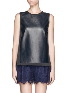VINCE Leather front silk sleeveless top