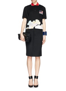 GIVENCHY Embroidery and floral print polo shirt