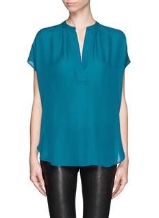 VINCEV-neck silk blouse