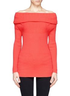 ARMANI COLLEZIONIOff shoulder rib knit sweater