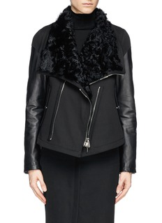 GIVENCHY Shearling leather-twill biker jacket