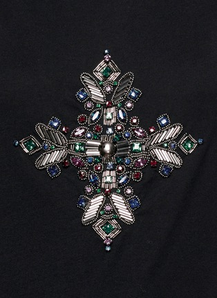 Detail View - Click To Enlarge - Emilio Pucci - Jewel and bead cotton T-shirt