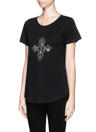 Front View - Click To Enlarge - Emilio Pucci - Jewel and bead cotton T-shirt