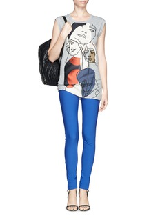 STELLA MCCARTNEY Face embroidery patchwork jersey tunic