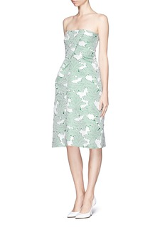 JIL SANDERTechno jacquard strapless dress