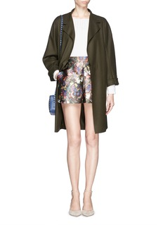 VALENTINO Butterfly camouflage sateen pleat skort