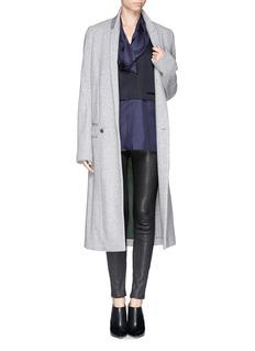 HAIDER ACKERMANNSilk drape neck wool blend vest blouse combo