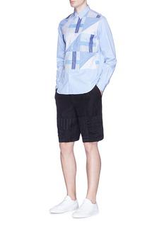 Comme Des Garçons HommeStripe patchwork wool-linen shorts