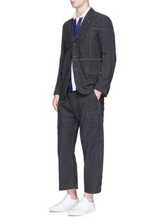 Comme Des Garçons HommeFront belt cropped wide leg pants