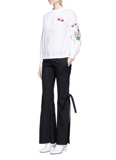 HELEN LEE Flying bunny and floral embroidered blouse