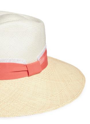 Detail View - Click To Enlarge - Sensi Studio - Frayed band bicolour toquilla straw Panama hat