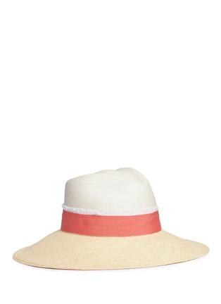 Main View - Click To Enlarge - Sensi Studio - Frayed band bicolour toquilla straw Panama hat