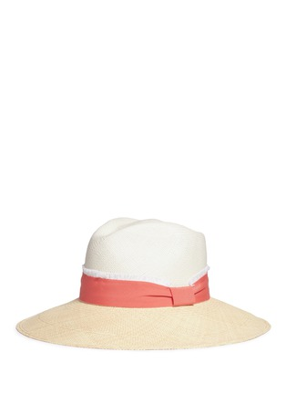Figure View - Click To Enlarge - Sensi Studio - Frayed band bicolour toquilla straw Panama hat