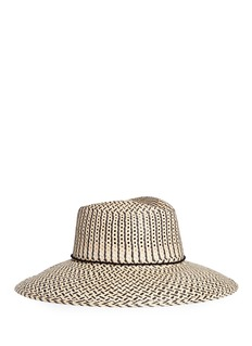 Sensi StudioPompom chevron stripe toquilla straw hat