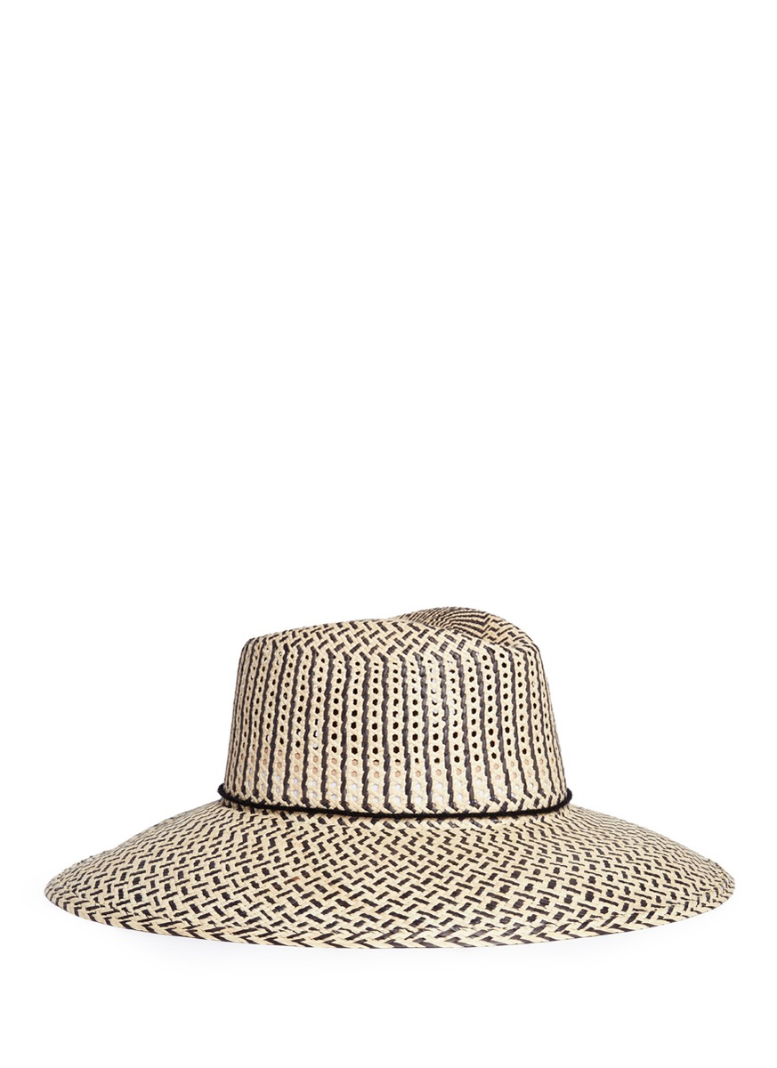 Pompom chevron stripe toquilla straw hat by Sensi Studio