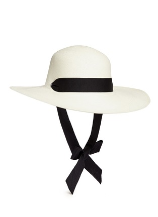 Main View - Click To Enlarge - Sensi Studio - 'Lady Majorca' adjustable ribbon toquilla straw hat
