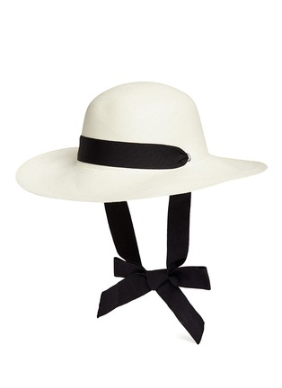 Figure View - Click To Enlarge - Sensi Studio - 'Lady Majorca' adjustable ribbon toquilla straw hat