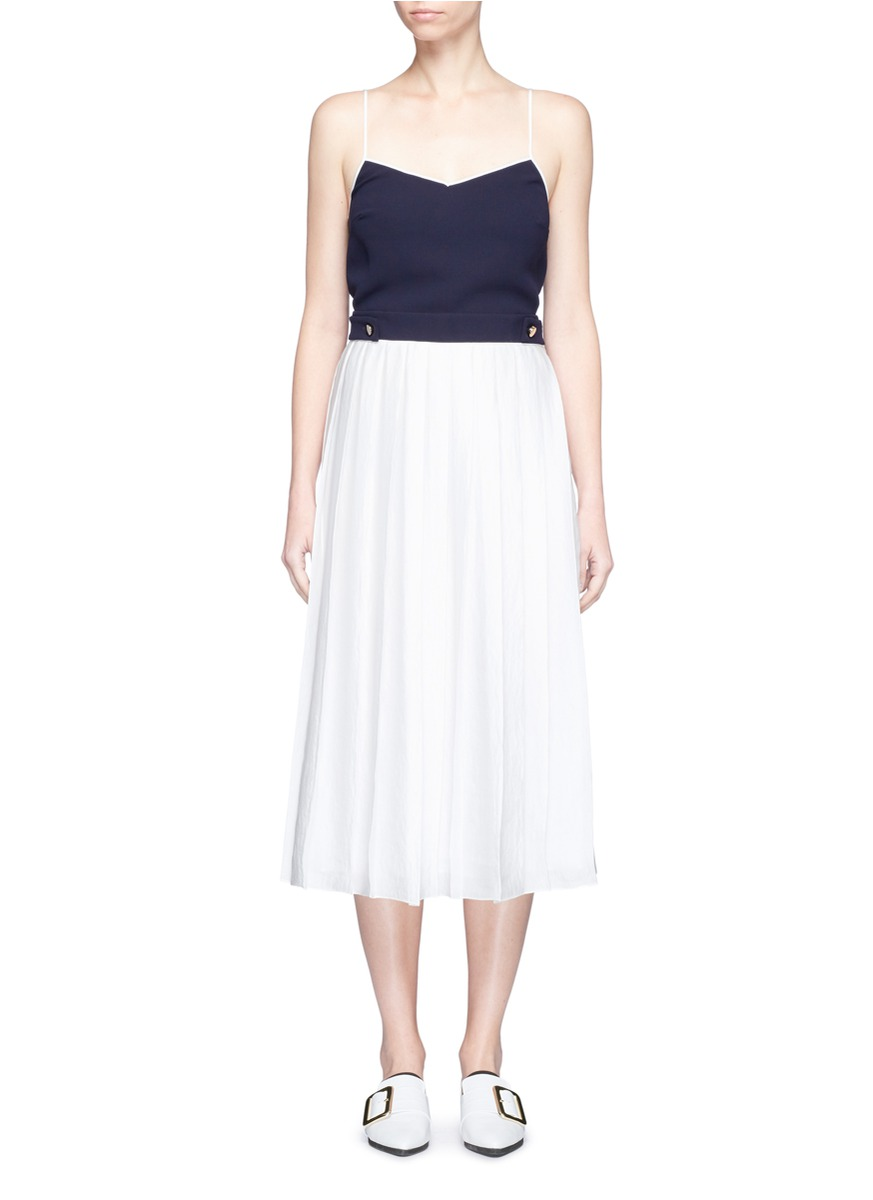 Contrast top pleated satin crepe dress by VICTORIA, VICTORIA BECKHAM