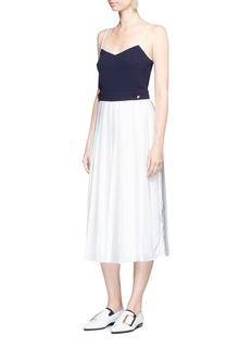 VICTORIA, VICTORIA BECKHAM Contrast top pleated satin crepe dress
