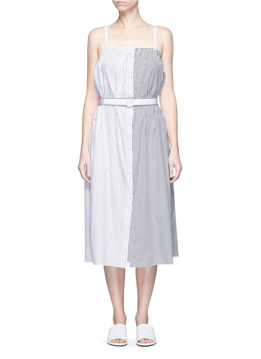 Contrast stripe belted poplin dress by VICTORIA, VICTORIA BECKHAM
