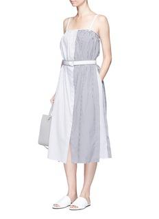 VICTORIA, VICTORIA BECKHAMContrast stripe belted poplin dress
