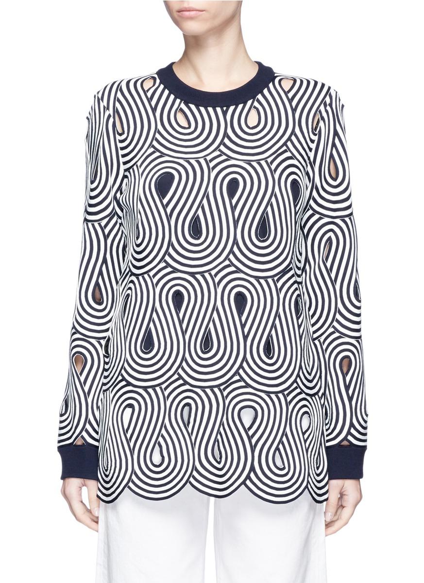 Swirl stripe cutout sweater by VICTORIA, VICTORIA BECKHAM