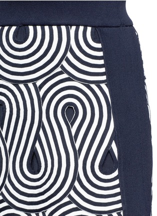 Detail View - Click To Enlarge - VICTORIA, VICTORIA BECKHAM - Swirl stripe cutout rib knit skirt