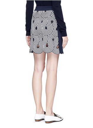 Back View - Click To Enlarge - VICTORIA, VICTORIA BECKHAM - Swirl stripe cutout rib knit skirt