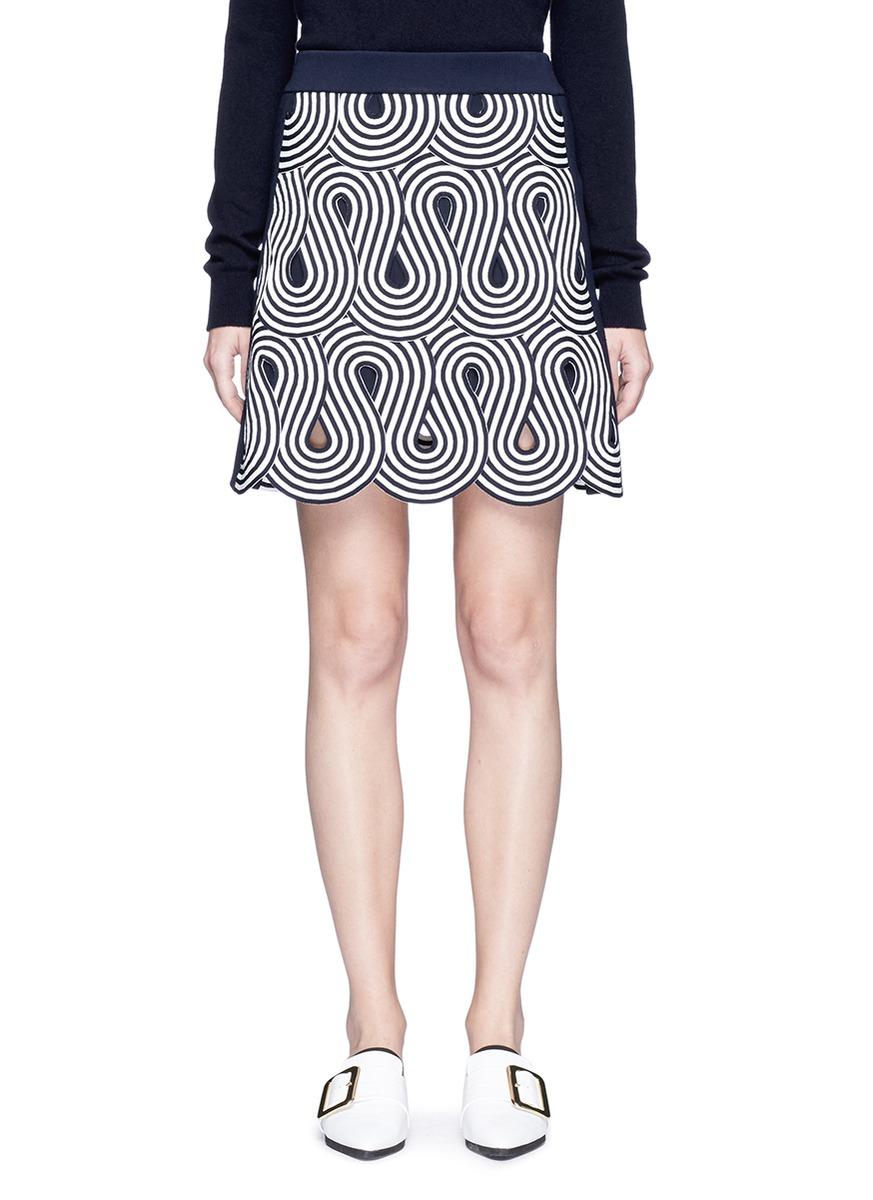 Swirl stripe cutout rib knit skirt by VICTORIA, VICTORIA BECKHAM