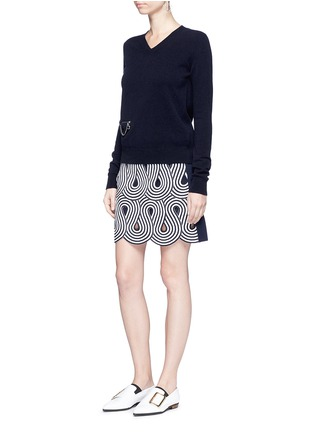 Figure View - Click To Enlarge - VICTORIA, VICTORIA BECKHAM - Swirl stripe cutout rib knit skirt