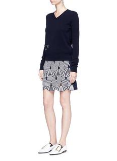 VICTORIA, VICTORIA BECKHAMSwirl stripe cutout rib knit skirt