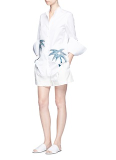 VICTORIA, VICTORIA BECKHAM Palm tree embroidered patch cotton shirt