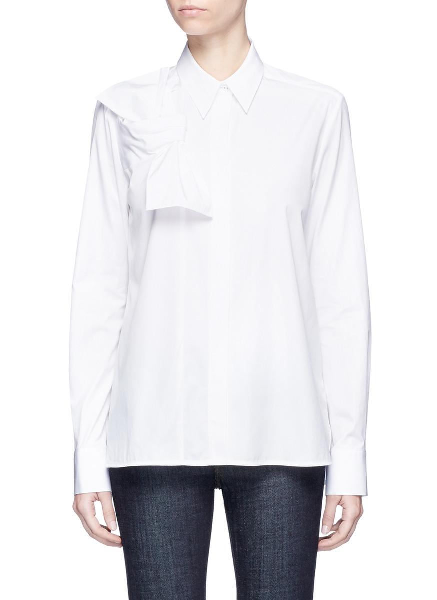 Knot front cotton poplin shirt by VICTORIA, VICTORIA BECKHAM