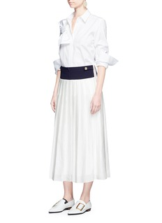 VICTORIA, VICTORIA BECKHAM Contrast waistband pleated midi skirt
