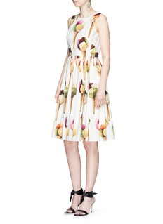 Dolce & Gabbana Ice cream print gathered poplin sleeveless dress