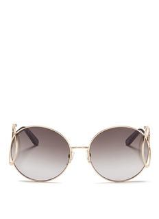 Chloé'Jackson' open teardrop temple metal round sunglasses