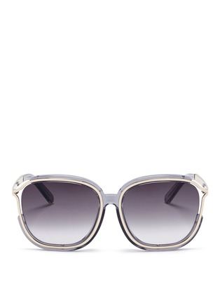 Main View - Click To Enlarge - Chloé - 'Jayme' metal temple square resin sunglasses