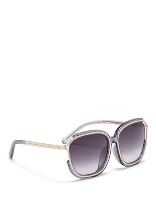 Figure View - Click To Enlarge - Chloé - 'Jayme' metal temple square resin sunglasses