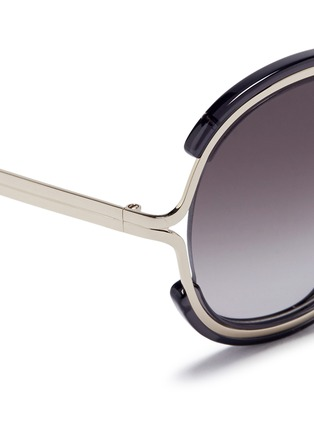 Detail View - Click To Enlarge - Chloé - 'Jayme' metal temple round resin sunglasses
