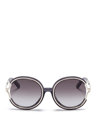 Main View - Click To Enlarge - Chloé - 'Jayme' metal temple round resin sunglasses