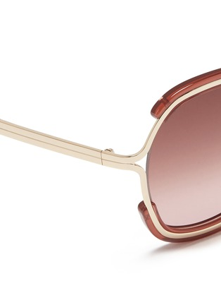 Detail View - Click To Enlarge - Chloé - Metal rim acetate angular round sunglasses