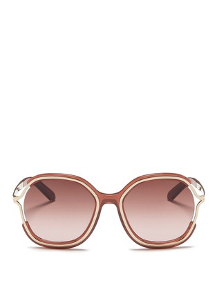 Main View - Click To Enlarge - Chloé - Metal rim acetate angular round sunglasses
