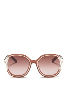 Chloé Metal rim acetate angular round sunglasses
