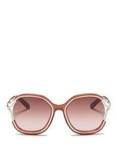 CHLOÉMetal rim acetate angular round sunglasses