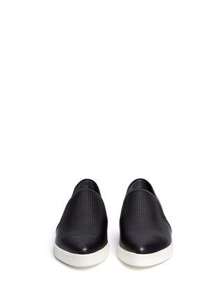 Front View - Click To Enlarge - Vince - 'Pierce' perforated leather skate slip-ons