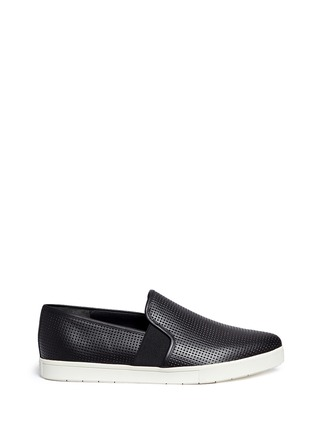 Main View - Click To Enlarge - Vince - 'Pierce' perforated leather skate slip-ons